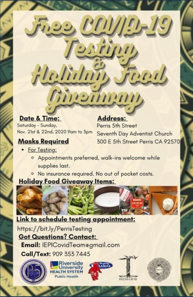 FREE COVID 19 TEST/ HOIDAY FOOD GIVEAWAY